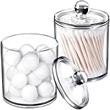 2 Pack of 15 Oz. Qtip Dispenser Apothecary Jars Bathroom with Labels - Qtip Holder Storage Canister Clear Plastic Acrylic Jar for Cotton Ball,Cotton Swab,Q-tips,Cotton Rounds (2 Pack of 15 Oz.,Small )