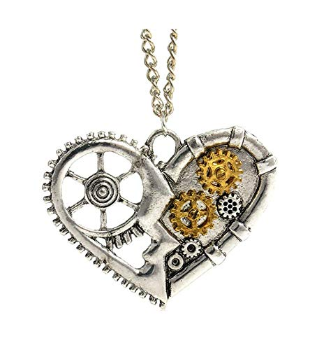 Large steampunk heart necklace pendant and chain Filled with the inner clock wheel mechanisms, these are decorative and do not spin The pendant measures 5cm across The chain is mid length at 52cm Sent inside an organza bag