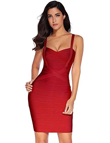 meilun Women's Celebrity Bandage Bodycon Strap Party Pencil Dress (L, Wine red)