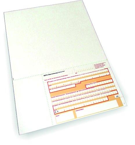 Überweisungsträger SEPA - Stand unten rechts, 100 Blatt, DIN A4, 90 g/qm OCR-Beleglesepapier