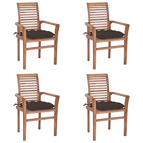 vidaXL 4X Madera de Teca Sillas de Comedor con Cojines Sillón Exterior Balcón Terraza Patio Asiento Butaca Muebles Mobiliario Gris Taupe