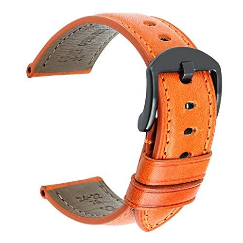 Cuero Correa de Reloj de Correas de Reloj de Pulseras de Cuero 20/22/24mm Naranja B, 22mm