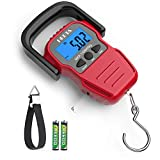 HEETA Fish Scale with Backlit LCD Display, Digital Portable Hanging Scale Luggage Scale with Measuring Tape for Home and Outdoor, 2 AAA Batteries Included, Red