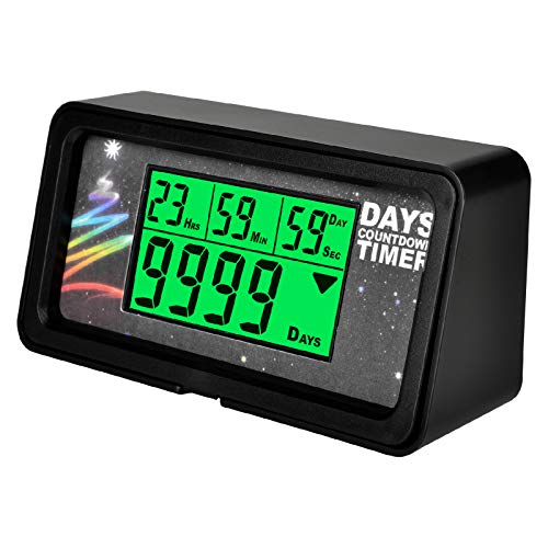 Jayron Backlight Digital 9,999 Days Countdown Timer Big LCD Display Count Down for Retirement Wedding Vacation Christmas Event Classroom Cruise