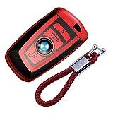 Autoschlüssel Hülle für BMW – Cover TPU Silikon Hochglanz Schutzhülle Schlüsselhülle für BMW Keyless Serie 1 3 5 7 X1 X3 X4 X5 F30 E30 (Rot)