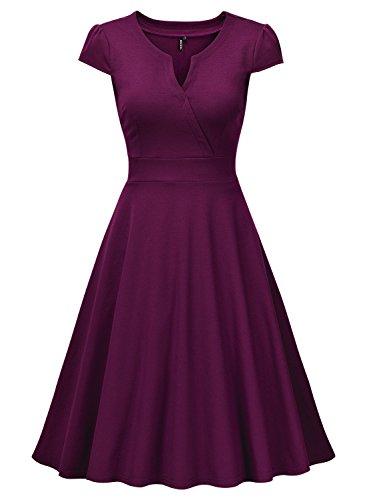 Miusol Damen Cocktailkleid 50er Vintag Style Swing A-Linie Abendkleid Lila Gr.M - 5