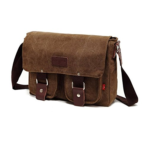 Uomo Vintage Borsa di Tela borsa per scuola in pelle a spalla militare borsa a tracolla caffe'