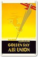 パリロンドンゴールデンレイティンサイン装飾ヴィンテージウォールメタルプラークレトロ鉄絵画カフェバー映画ギフト結婚式誕生日警告