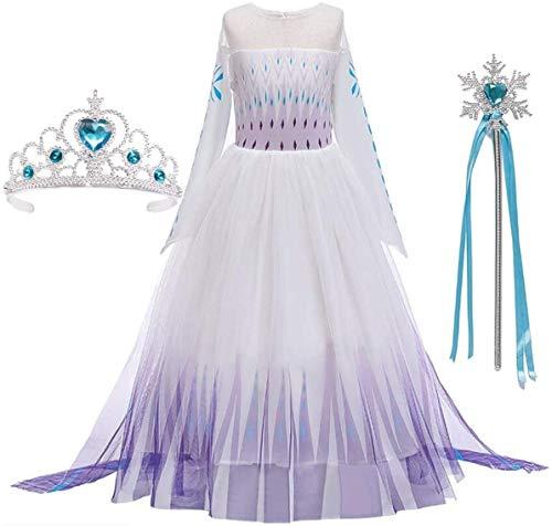 AOGD La Reina de las Nieves, 2 disfraz Elsa Princesa, vestido para nia, traje de boda, cumpleaos, canarval, guante mgico de Frozen, Elsa vestido morado