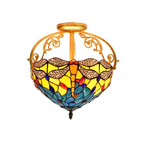 CH-LIGHT plafondlamp, 12 inch, 30 cm, retro plafondlamp, van gekleurd glas, gele nagellak, voor slaapkamer, hal, hal, hal, hal, hal, hal, hal, hal, hanglamp