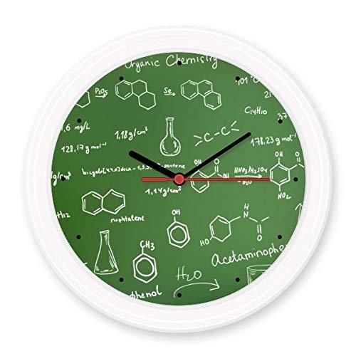 BeatCong Organische Chemie Experimentelle Molekulare Atomstruktur Illustration Stille Nicht tickt runde Wand dekorative Uhr Batteriebetriebene Uhren Gift Abziehbild