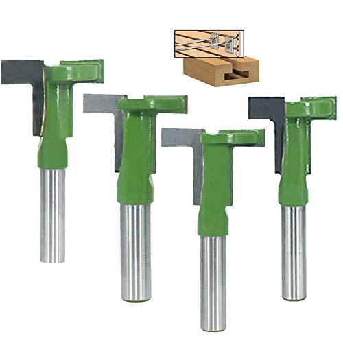 4 Pezzi 8mm Codolo T-Slot Router Bit Cutter, Punte per Falegnameria Fresa di Legno(8X28X6MM, 8X28X8MM, 8X32X6MM,8X32X8MM)