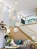 6 luces Hotel Villa Escalera Colgante de techo alto Luz Minimalista Escalera de caracol Araña larga Lámpara de araña creativa moderna Sala de estar Restaurante Lámpara de araña Bola de cristal 30x150c