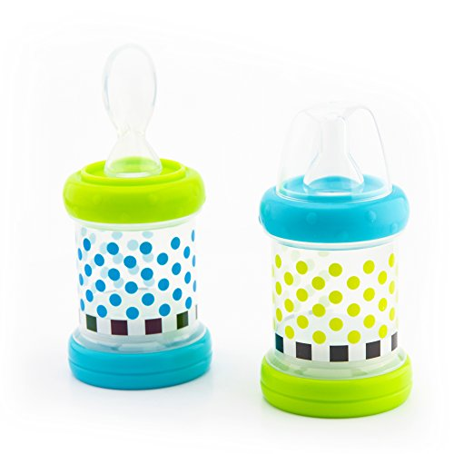 Sassy Baby Food Nurser – 4+ Months Set of 2- 4oz 100% Silicone Nipple and Spoon BPA-Free