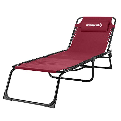 KingCamp Red Folding Outdoor Chaise Lounge Chair Cot Bed for Beach, Sunbathing, Patio, Pool, Lawn, Deck, Portable Lightweight Heavy-Duty Adjustable Camping 3-Fold Reclining Chair with Pillow