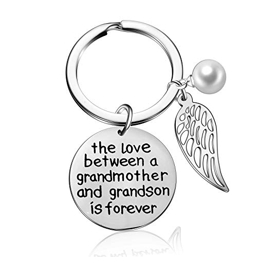 The Love Between Grandmother and Granddaughter Grandson is Forever Keyring Wing Keychain Gift from...