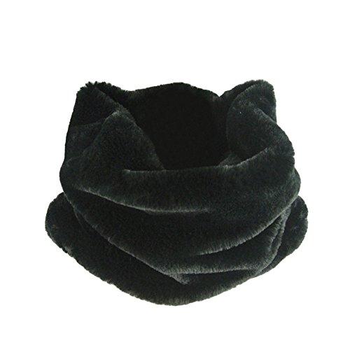 DELEY Autunno Invernali Donna Ladies Morbido Caldo Elegante Cappotto Wrap Sciarpa di Pelliccia Finta Collo Avvolgere Foulard Scarf Nero