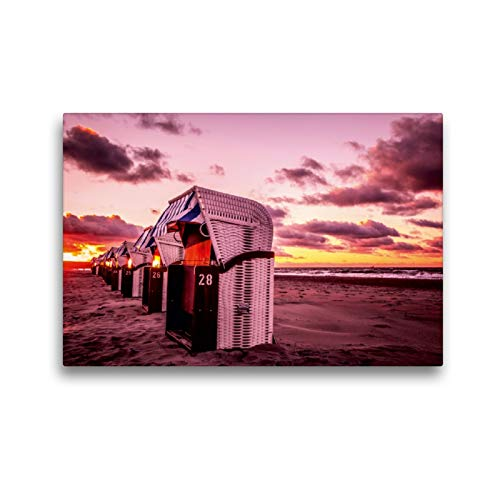 Premium Textil-Leinwand 45 x 30 cm Quer-Format Strandkörbe in Warnemünde | Wandbild, HD-Bild auf Keilrahmen, Fertigbild auf hochwertigem Vlies, Leinwanddruck von Thomas Deter