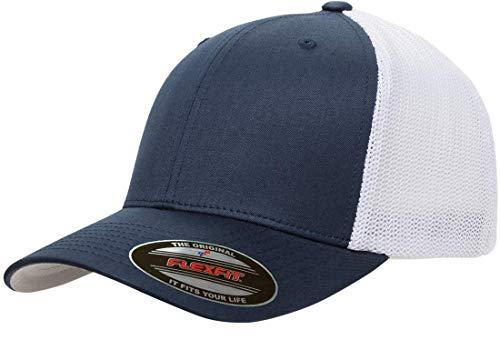 Flexfit Men's Trucker Mesh Cap-2-Tone, Navy/White, One Size Fits All