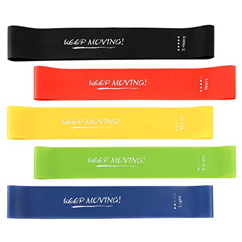 ZONGOOL Exercise Resistance Bands Set for Legs and Butt, Upgrade Thicken Anti-Slip & Roll Elastic Booty Bands, Workout Bands Fitness Bands for Women with Ebook. (Green, Blue, Yellow, Red, Black)