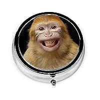 ピルケース 笑顔のオランウータン 薬ケース 携帯サプリメント 薬入れ 小物入れ 薄型 コンパクト ステンレス製 オシャレ ブラック カプセル サプリ