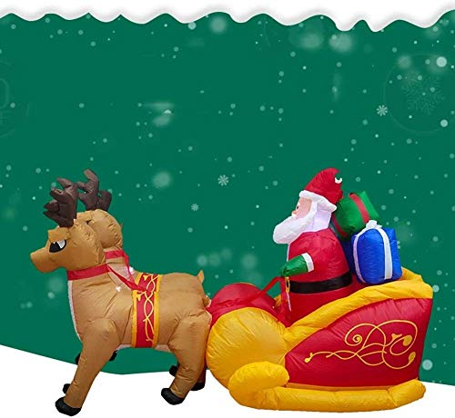 CHIFAN Santa Claus Christmas Inflatable with Gift in Sleigh Pulled by Reindeer Self Inflating Air Blown Lawn Yard Garden Ornaments Holiday Home Party Prop