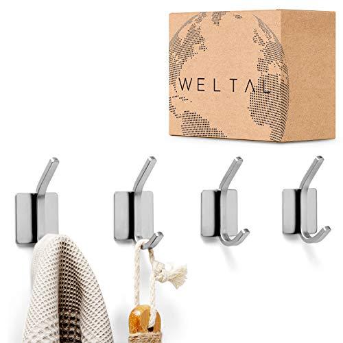 WELTAL® Selbstklebende Haken [4er Set] - Hochwertige Edelstahl Klebehaken mit leichter Montage - Handtuchhalter ohne Bohren - Handtuchhaken für Bad, Küche und Wand - Wandhaken selbstklebend