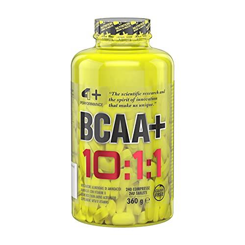 4+ NUTRITION - BCAA+ 10:1:1, Integratore Alimentare Sportivo, con Amminoacidi a Catena Ramificata, per la Sintesi Proteica e Produzione di Energia, 240 Compresse