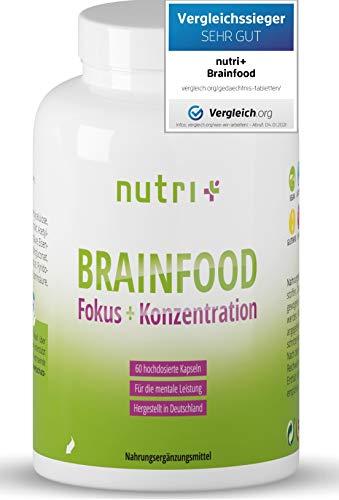 Konzentration Kapseln - Brain Booster MHD 21.2. - TESTSIEGER - Gehirn Fokus Leistung - Lernhilfe Tabletten hochdosiert mit Koffein, Cholin, Ginseng - Nutri-Plus Brainfood - vegan