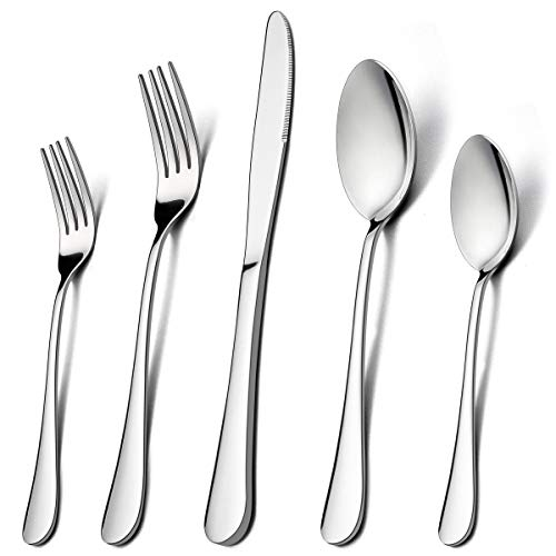 60-Piece Silverware Flatware Set for 12, LIANYU Stainless Steel Cutlery Eating Utensils Set, Kitchen Restaurant Party Tableware, Mirror Finished, Dishwasher Safe