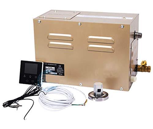 CGOLDENWALL 3.5KW Generador de Vapor Comercial Auto-drenante para Ducha/Sauna/Baño Turco/SPA, 3m³, 25-55℃ Termostato Automático, Temporizador 30min-12h, con Controlador Impermeable LED