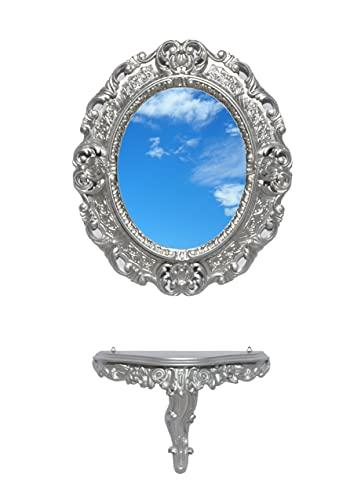 Ideacasa Consolle + Specchio Ovale Argento Argentato Stile Barocco Finto Vintage - Specchio cm 45x39