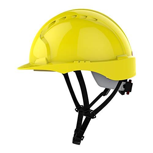 Evo3 C+ Helm GELB, Schutzhelm für Monteure JSP mit 4-Punkt Kinnriemen und RADVERSCHLUSS