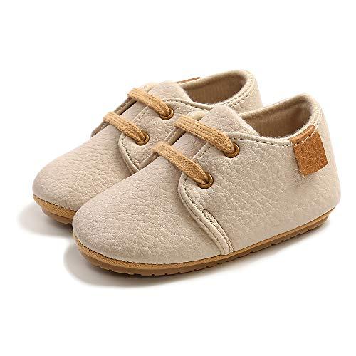 VIENNAR Las Muchachas de los Muchachos del bebé ata para Arriba los Zapatos, los Mocasines Infantiles del Suela de Goma Suave de los Zapatos del Pesebre de Cuero recién Nacidos