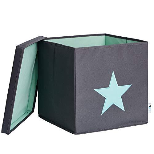 LOVE !T STORE !T 672241 Ordnungsbox mit Deckel, grau mit mintgrünem Stern, MDF verstärkt, Polyester Mint, 33 x 33 x 33 cm