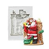 Ritapreaty Stampo in Silicone Santa, per Decorazioni Natalizie, Artigianato, Cupcakes, Biscotti, Caramelle, Carte e Argilla