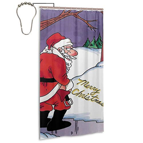 Angel Pig Merry Christmas FUUNY Santa Peeing Snow Home Decorations Valid Mouldproof Shower Curtains Waterproof Opacity Decor Spa Curtain Bathroom Polyester Shower Curtain 36x72 Inch