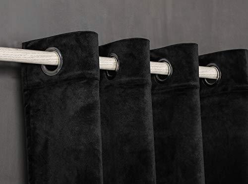 PimpamTex Blickdichter Samtvorhang, 1 Stück Ösenvorhang, Kälteabweisender Stoff, Verdunklungsgardine aus Samt für Wohnzimmer, Schlafzimmer, 140 x 260 cm (Schwarz)