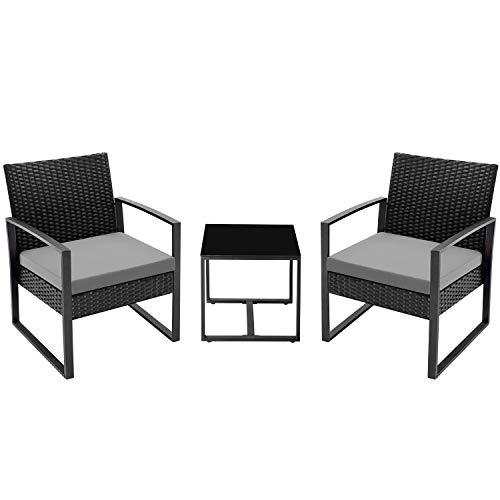 Flamaker 3 Pieces Patio Set Outdoor Wicker Patio Furniture...