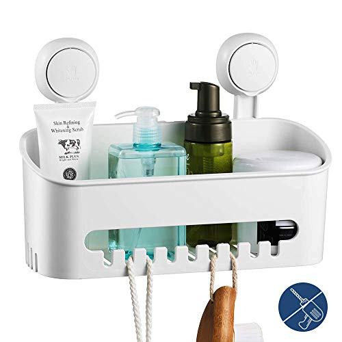 ilikable Vacuum Shower Caddy Suction Cup No-Drilling Removable Waterproof Bathroom Wall Shelf Shower Basket Storage Organizer for Shampoo Conditioner Razors Soap - White