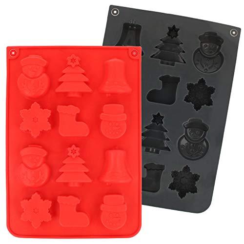 com-four® 2x Silikon Formen für Pralinen - Pralinenformen für Weihnachten - Backform aus Silikon für Pralinen, Bonbons oder Eiswürfel [Auswahl variiert]