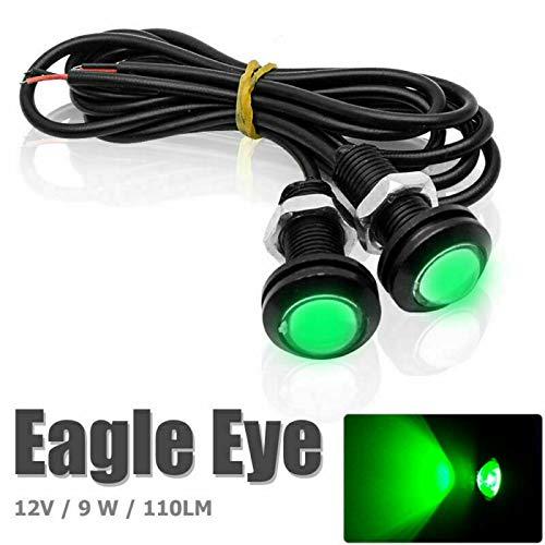 Riloer Luces de Ojo de Águila, 2PCS 12V 9W 110 Lm 8000-10000K Coche Motocicleta LED de Ojo de Águila Luces de Circulación Diurna DRL Luz Trasera Lámpara de Marcha Atrás Verde