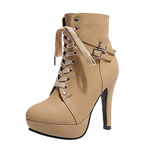 Kauneus Womens High Heel Ankle Boots Buckle Lace up Platform Booties Faux Leather Round Toe Chunky Knight Martin Boots Beige