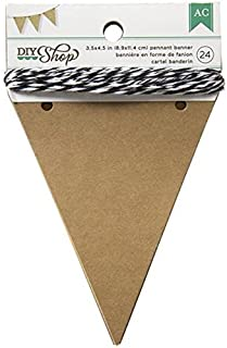 American Crafts 366648 Banners 3.5 X 4.5 Pennant Kraft 24PC, Multicolor