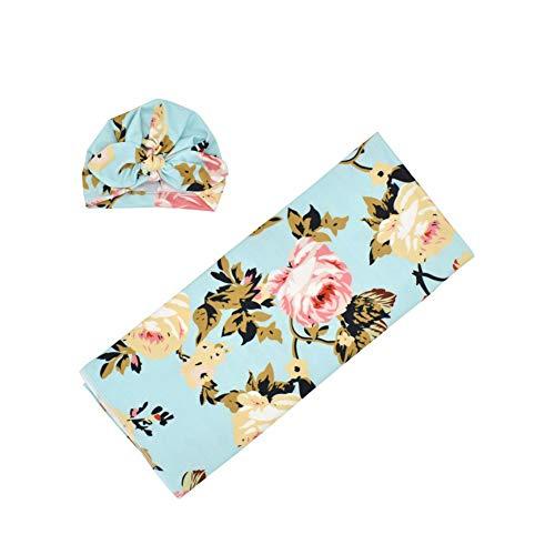 Manta para bebé recién nacido con diseño de flores y gorro de bebé para bebés y niños D Talla:80 * 80cm