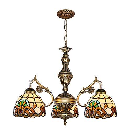 VinDeng 3-brazos Estilo tiffany Lámpara de araña, E27 Lámpara de techo Con Colorido Vaso...