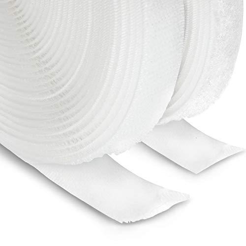 FrogJim nastro in pile e gancio per cucire e artigianato, bianco, largo 20mm, ogni 5m rotolo in pile e 5m rotolo gancio KRNW5