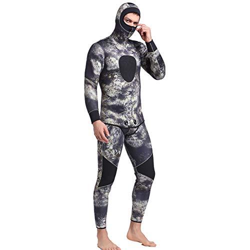 WYYHAA Traje de neopreno de 3 mm, 2 piezas, traje de buceo para hombres, buceo, surf, esnórquel, pesca submarina y talla grande con capucha, B, XXL