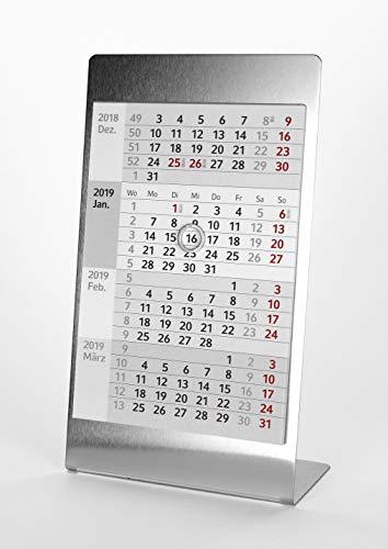 HiCuCo 4-Monats-Tischkalender für 2 Jahre (2021 + 2022) - Aufstellkalender - Edelstahl - TypA5