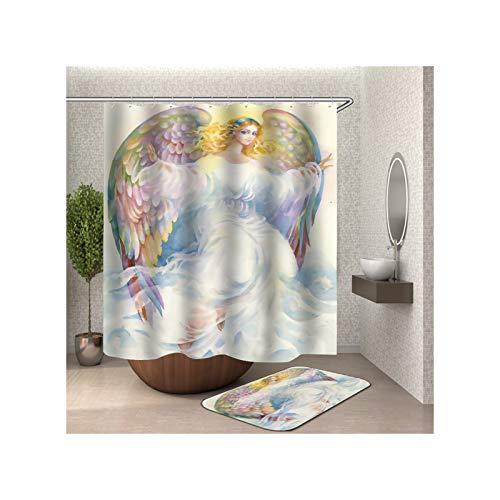 Epinki Duschvorhang & Badezimmerteppich Set Waschbar aus Polyester Mädchen Muster Badewanne Vorhang Bad Teppich Bunt mit 12 Duschvorhangringen für Badewanne - 165x200CM
